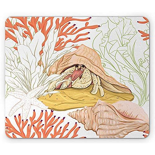 Aquarium-Mausunterlage, ausführlicher Einsiedlerkrebs-Skizzen-Entwurf mit Seeoberteil in den Wasserwild lebenden Tieren, weiß und Mehrfarben