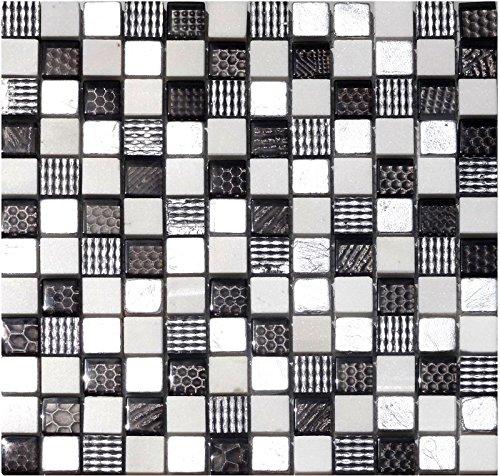 1 Netz Glassteinmosaik Replica 23x23mm schwarz weiss