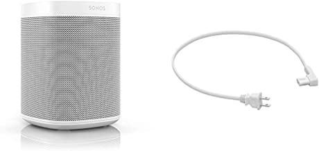 Sonos One (Gen 2) - Voice Controlled Smart Speaker with Amazon Alexa Built-in (White) and 19.7in (.5m) Power Cable for One...
