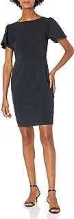 Lark & Ro Amazon Brand Women's Fluid Crepe Short Sleeve Boat Neck Flutter Dress
