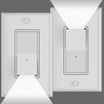 2Pack Guidelight Light Switch With Night Lights,120V//15A,Single Pole,3 Wire,Grou