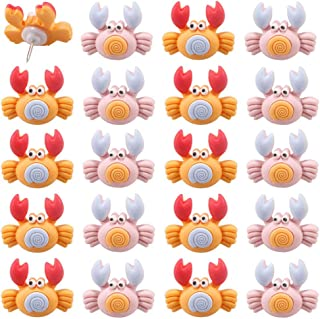 FoyaHome 20 Pcs Mixed Color Creative Crab Shaped Push Pins Animal Drawing Pins for Feature Wall Whiteboard Cork Board Phot...