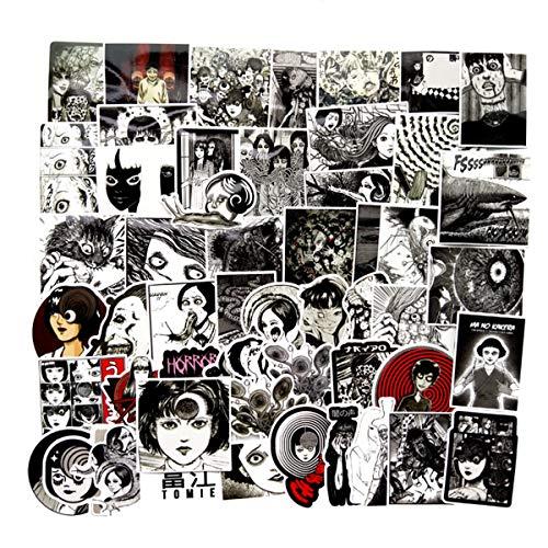 56 x Tomie Comic Print Schwarz und Weis Thriller Horror Style Spielzeug Aufkleber fur Wasserflasche Skateboard Gepack Trolley Laptop Doodle Cool Sticker