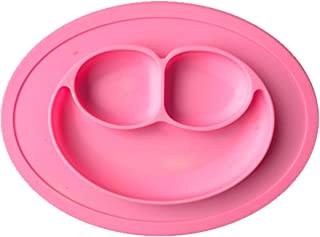 JJOnlineStore - Kids placemate placa con ventosa antideslizante portátil dividido sección sonrisa infantil bebé alimentación bandeja plato (Pink)