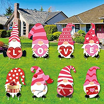 Yard Signs with Stakes Valentine's Day Decorations Valentine Gnomes Lawn Decorations Outdoor Love Gnomes Swedish Tomte Elf Corrugated Yard Signs Decor,Suits to Wedding, Anniversary (8PC)
