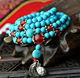 Olici Damas/Chica Adolescente/Pulsera Folk Style Turquesa 108 Perlas Joyas De Plata Anillos Mori 72Cm