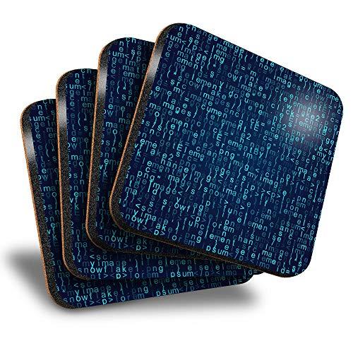 Destination Vinyl ltd Great Posavasos (juego de 4) cuadrados, código de programación JavaScript Java IT Drink brillante posavasos / protección de mesa para cualquier tipo de mesa #45440