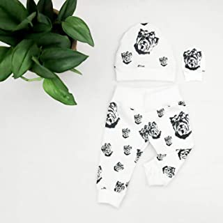 Yorkshire Terrier Print Organic Cotton Newborn Hat No Scratch Mittens And Leggings Set