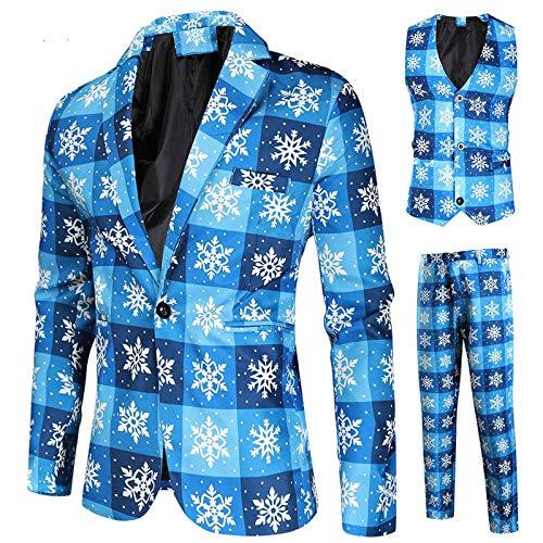 Hniunew Ein voller Anzug Elegant Blazer Drucken Strickjacke Weihnachtsjacke Weihnachtsanzug Herren Freizeit Festmantel Ballanzug Hochzeitsanzug MäNner Langarm Einreiher Weihnachtem Suit Coat