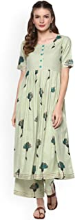 Women Green Printed Kurta with Palazzos Full Set Dream Angel Fashion