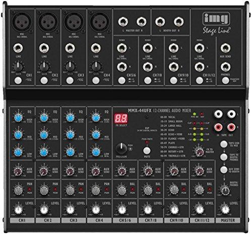 IMG Stageline MMX-44UFX 8-Kanal-Audio-Mischpult mit 12 Eingängen, DSP-Effekteinheit und USB-Schnittstelle, schwarz