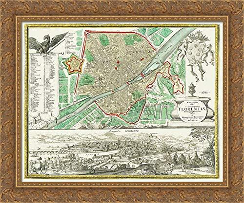 Homann 24x20 Gold Ornate Framed Canvas Art Print Titled: Florence Italy - Homann 1731 Map