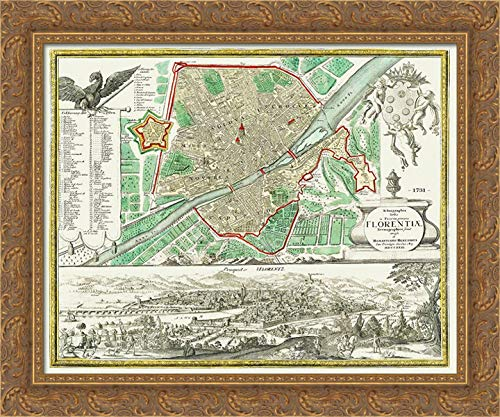 Homann 24x20 Gold Ornate Framed Canvas Art Print Titled: Florence Italy - Homann 1731 Map