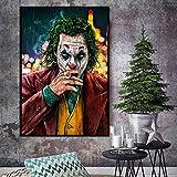 Geiqianjiumai Villano Fumar Payaso Cartel de la película Arte de la Pared Lienzo Hua Phoenix Impresión y póster Imagen cómica Pintura Decorativa Pintura sin Marco 60X90cm