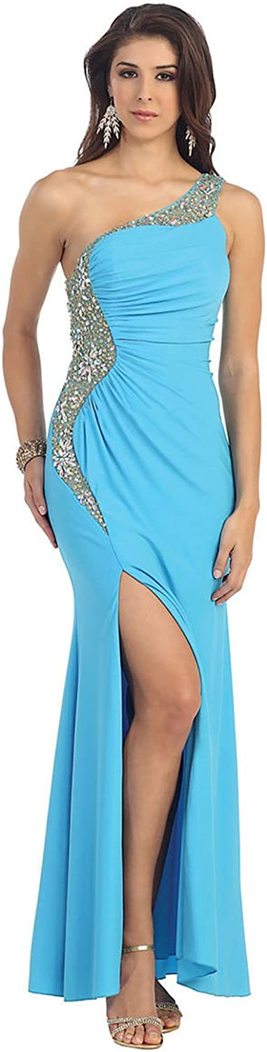 May Queen MQ1012 One Shoulder Sexy Stretchy Dress