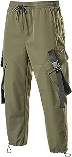 MARTINSHARK Overalls Men's Fashion Drawstring Pockets Straight Leg Overalls Drawstring Overalls