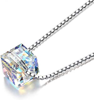 Aigemi 925 Sterling Silver Crystal Pendant Necklace Fashion Jewelry Necklace for Women Gifts for Women