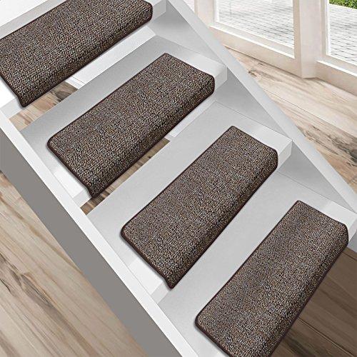 Floordirekt Stufenmatten London   Halbrund oder Eckig   Treppenmatten in 11 Farben   Strapazierfähig & pflegeleicht   Stufenteppich für Innen (Hellbraun, Eckig 23,5 x 65 cm)