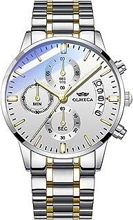 ساعة يد فاخرة عصرية مقاومة للماء بحركة كوارتز ووظيفة كرونوغراف وتقويم وسوار ستانلس ستيل للرجال من اولميكا 869