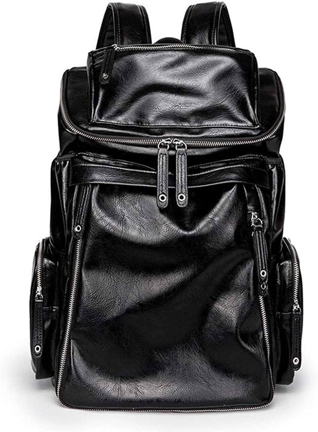 Fashion Men's Backpack, PU Leather Casual Wild Large Capacity Travel Computer Backpack  Black