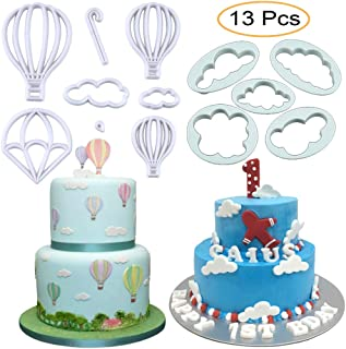 13Pcs/Set Hot Air Balloons & Cloud Fondant Cutter Set, Hot Air Balloons Plastic Cookie Cutter Mold for Baby Shower Cake Topper Decorating Sugar Craft Polymer Clay Cutters