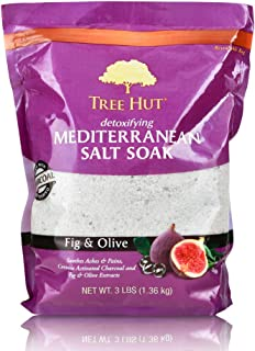 Tree Hut Detoxifying Mediterranean Salt Soak Fig & Olive, 3Ibs, Ultra Hydrating Epsom for Nourishing Essential Body Care
