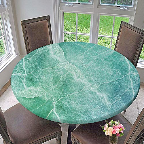SUPNON Elastic Edged Waterproof Table Cover Tablecloths Kitchen Decor, Fits for Round Tables - Natural Green Marble High Resolution Texture Background W0356224 55'