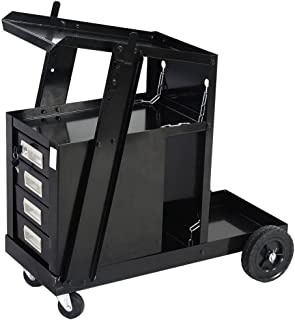 TimmyHouse Welding Cart for MIG TIG Flux Welder Heavy Duty Swivel Wheels Universal FedEx
