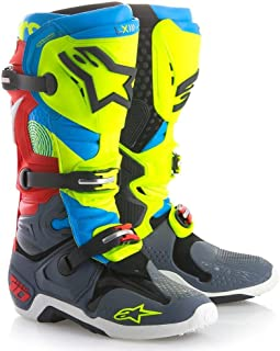 Alpinestars TECH10 Union Men's Off-Road Motorcycle Boots - Anthracite Aqua Yellow Fluo Red / 8
