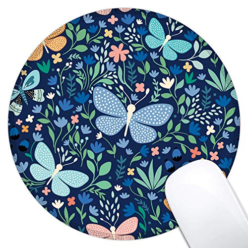 Dynippy Mouse Pad Gaming Mouse Pads Non-Slip Rubber Base Mousepad with Stitched Edge Round Mouse Mat for Desktops Computer Laptops ( Butterfly )