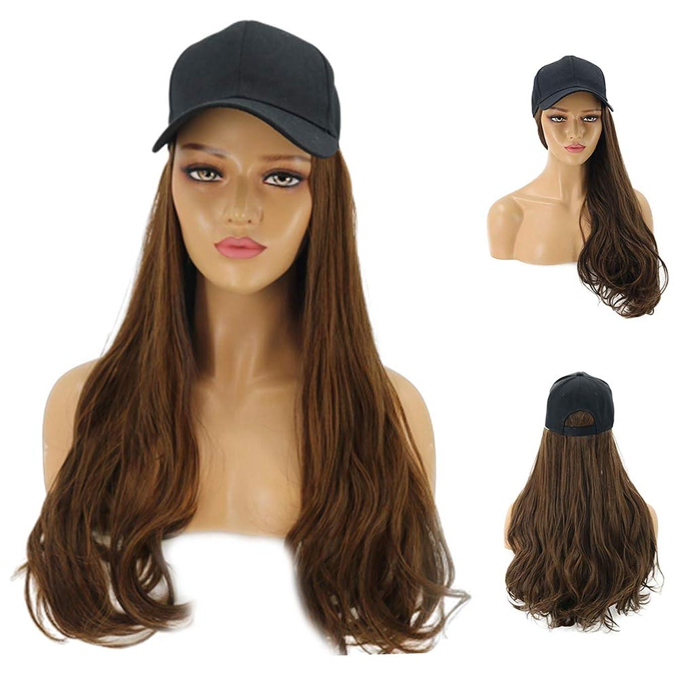 アイデアチョークバケツ女性のファッショナブルな野球帽、長いウェーブのかかった髪の拡張機能、毎日のパーティー用の黒い帽子が付いた自然な人工毛