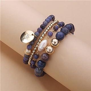 مجوهرات أنيقة 4 جدائل مكدسة طبقات الأزرق الداكن الحجر الطبيعي أساور للنساء يانجين (اللون : لون ذهبي)