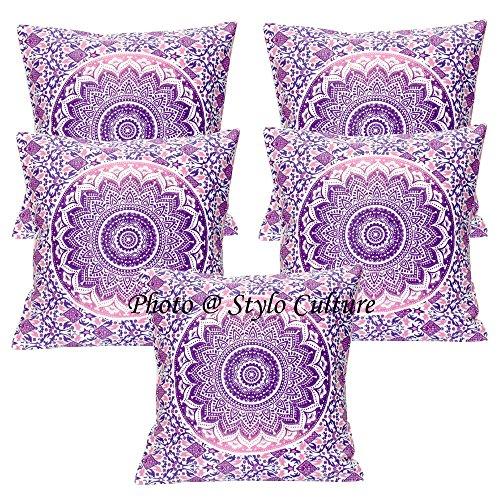 Stylo Culture Fundas de Cojines étnicos Fundas de cojín con Estampado Floral púrpura Fundas de cojín con cojín de algodón Cuadrado Tradicional Mandala Ombre 40x40 cm (Juego de 5 Piezas)