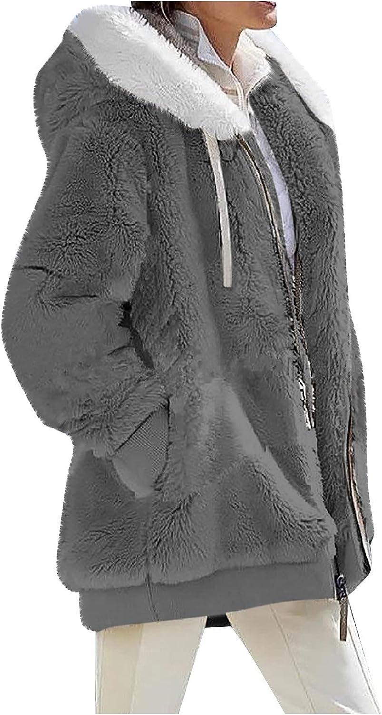 Cardigan for Women Oversized Fuzzy Fleece Long Sleeve Open Front Hooded Jacket Coat Solid Color Zip Up Winter Outwear