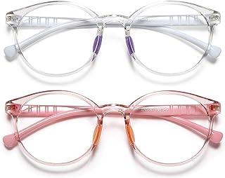 Kids Blue Light Glasses Girls/Boys, Round Lightweight Frame Computer Eye Glasses Anti Eyestrain & UV Glare for Gaming & Re...
