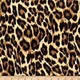 Telio Colorado Poly Faille Animal Leopard Print Fabric, Caramel, Fabric By The Yard