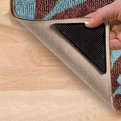 """Riforla 4 pcs Rug Grippers, Best Non-Slip Washable Rug Gripper, """"Vacuum TECH"""" - New Materials to Anti Curling Rug Pad : Keep Your Rug in Place & Make Corner Flat and Easily Peel Off When Need"""