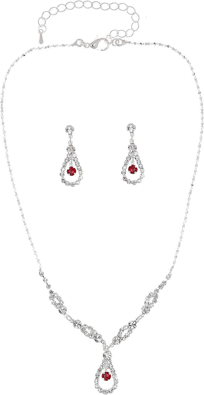 Elegant Teardrop Shape Crystal Necklace Earrings Set