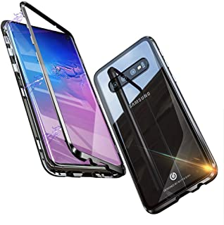 Giosio for Galaxy S10 Plus Metal Case, Ultra Slim Strong Magnetic Adsorption Metal Bumper with Built-in Tempered Glass Back Cover Aluminum Alloy Support Wireless Charging Protective Shockproof Case