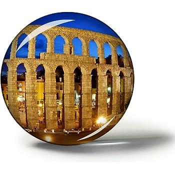 Hqiyaols Souvenir España Acueducto de Segovia Imanes Nevera Refrigerador Imán Recuerdo Coleccionables Viaje Regalo Circulo Cristal 1.9 Inches: Amazon.es: Hogar
