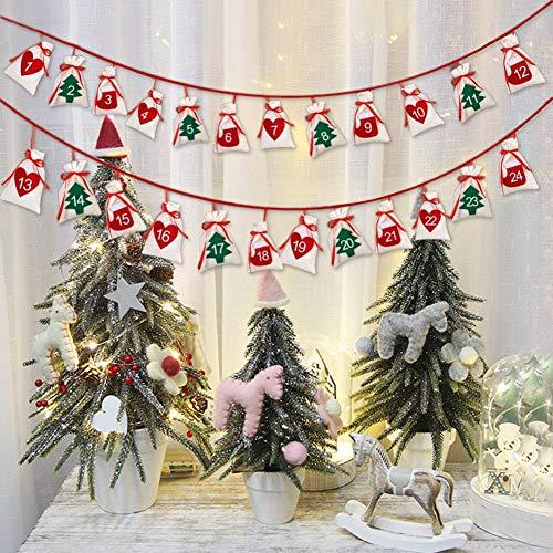 Funihut Adventskalender Kerstmis met zakken om op te hangen aan de muur, stof voor Kerstmis om op te hangen, met 24 zakken om op te hangen, ornament om op te hangen, geschenktas van stof