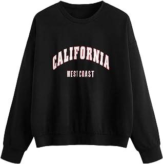 SheIn Women's Oversized Crewneck Letter Print Sweatshirt Pullover Top