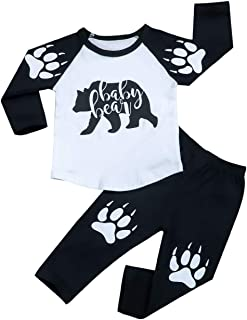 Toddler Baby Boy Clothes Baby Bear Letter Print Long Sleeve Tops + Bear's Paw Pants Outfits Set