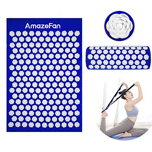 AmazeFan Akupressur-Set Akupressurmatte zur wohltuenden Entspannung, Akupressurkissen zur Erleichterung der Kopf-Nackenschmerzen mit Einer Tragtasche, mit Yoga Stretch Gurt
