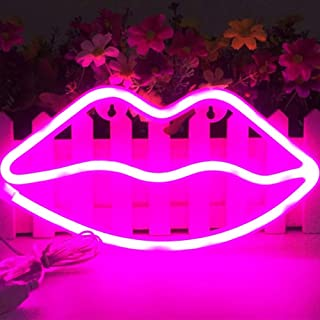 XIYUNTE Lip Shaped Neon Signs - LED Lip Neon Lights Hanging Wall Decor, Battery and USB Operated Lip Lights Pink Signs Light up for Kids Room,Party,Valentine's Day,Wedding,Christmas,as Kids Gift