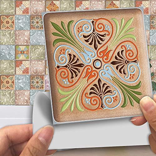 Pegatinas para azulejos Adhesivos para azulejos estilo mosaico Calcomanías resistentes al agua y aceite Autoadhesivas de PVC- Arte de decoración de pared(Patrón I 30CM X 30CM X 10PCS)