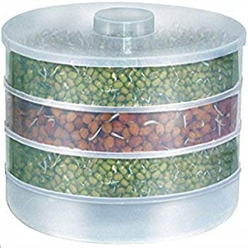 ATMAN Plastic Hygienic Sprout Maker Box with 4 Container Organic Home Making Fresh Sprouts Makers for Home Material Box Container Sprouted Grains Seeds Dal Channa Chole Ragi Organic Sprouting Jar