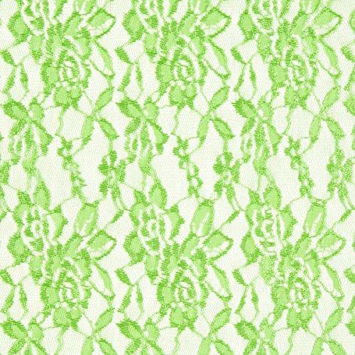 Fabulous Fabrics Spitze apfelgrün, Blume, 150cm breit – Spitze zum Nähen von Kleidern, Karnevalskostümen und Schalen – Meterware erhältlich ab 0,5 m