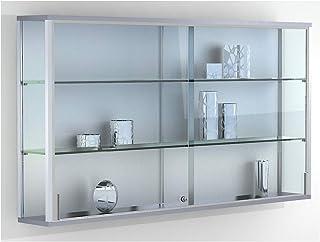 Vitrine murale LINK - 2 tablettes, portes coulissantes - h x l x p 800 x 1500 x 200 mm - armoire vitrée armoires vitrées v...