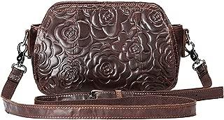 Women's New Classic Embossed Handbag Retro Diagonal Shoulder Bag Candys house (Color : Brown)